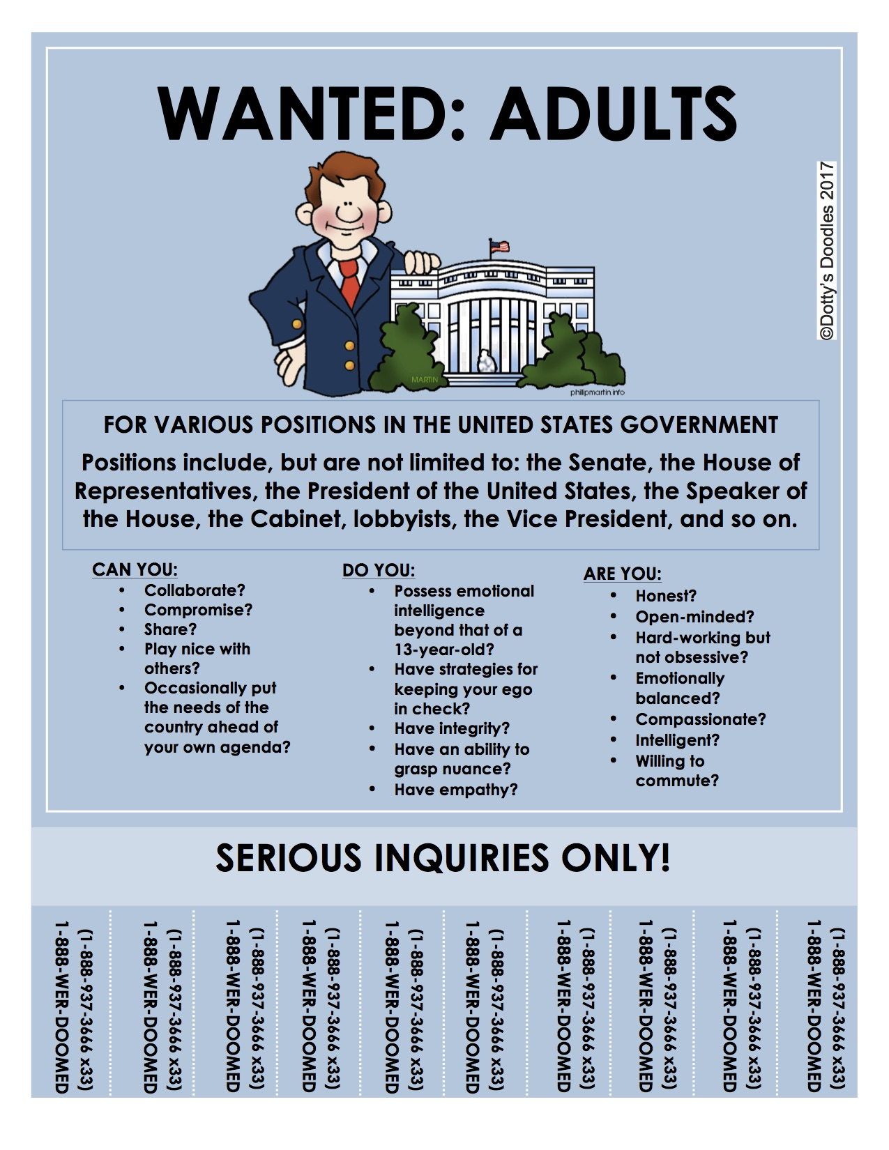 Government Positions Available For Adults! - Dotty's Doodles